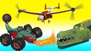 BEST OF ANIMAL & TRUCK CARTOON ! crocodile, elephant, eagle, plane, bulldozer, firetruck - Animacars