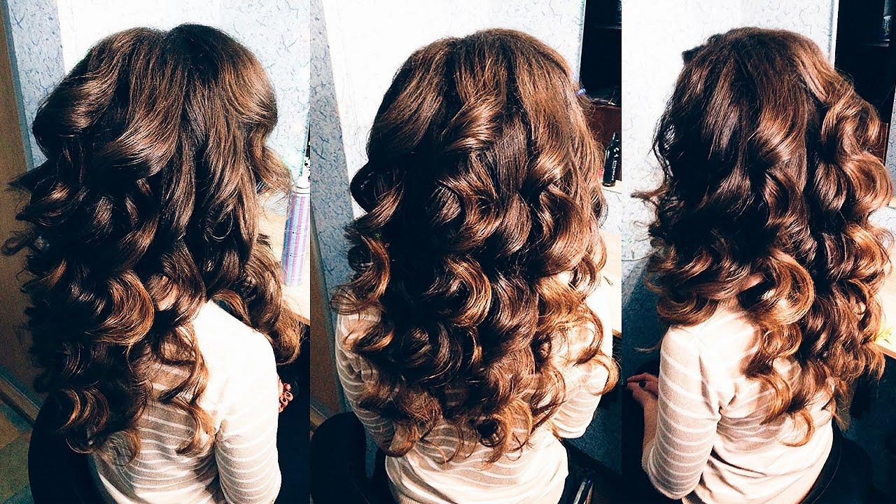 Как сделать крупные локоны на длинный волос 604