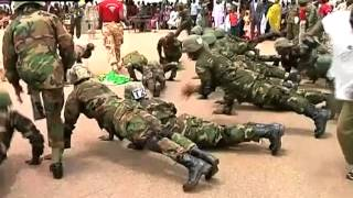 Volunteer Nigerian soldiers participate in airborne routine during graduation