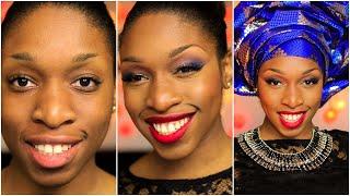 Maquillage Peau Noire | Glamour en Rouge et Bleu