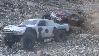 RC Elctric Cars - Traxxas E-Revo and Traxxas Slash 4x4 Ultimate hard bashing @ local stone quarry