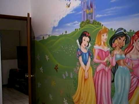 Decoracion con mural princesas disney youtube for Habitaciones infantiles disney