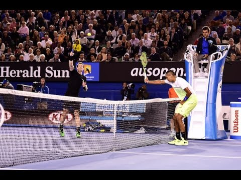 Shank you very much! Nick Kyrgios frames it - Australian Open 2015