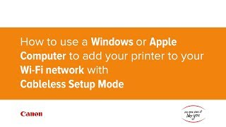 How to use a Computer to add a printer to your Wi-Fi network with Cableless Setup Mode