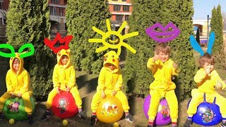 Learn Colors with Five Little Babies Jumping on the color balls Nursery Rhymes song for kids