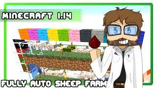 Minecraft Sheep Farm - New Cheap Auto Shear Design and Tutorial for Minecraft 1.14!