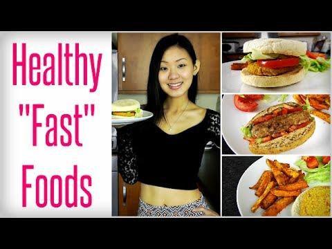 Healthy 'Fast' Foods - Veggie Burger, Hot Dog & Fries