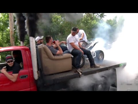 Hiarious Redneck - BEER CAN? Dually - ATV BURNOUT!!!