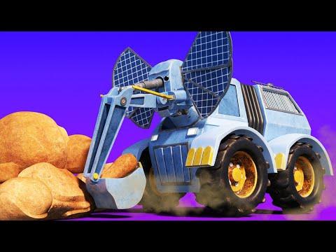 Elefantul excavator ridica roci uriase in desert - desene pentru copii cu camioane si animale