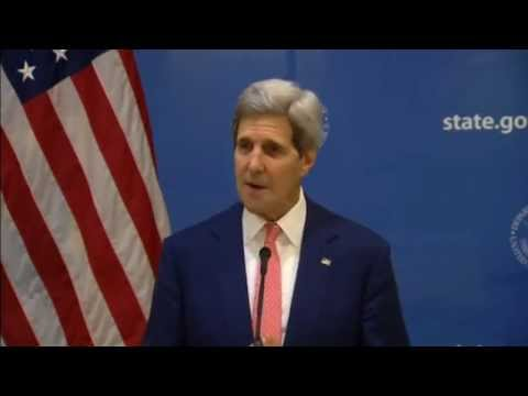 Channel 4 News - John Kerry announces Gaza ceasefire (1/8/14)