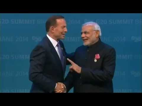 Australia PM Tony Abbott welcomes PM Narendra Modi to G20 Summit in Brisbane
