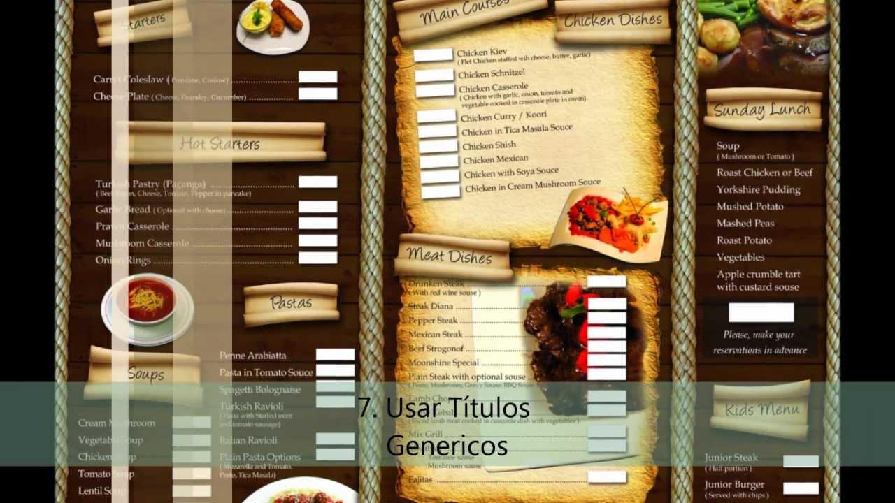 como crear un buen menu de restaurant youtube