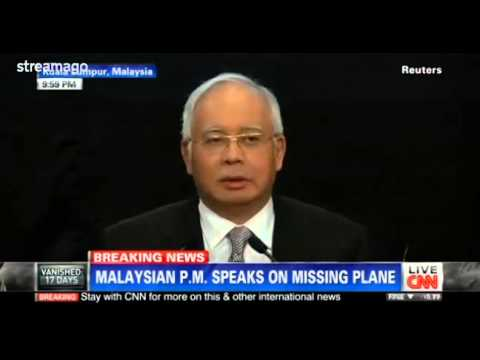 Prime Minister says Flight MH370 ended in the southern Indian Ocean