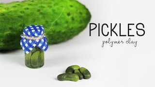 polymer clay Pickles TUTORIAL (miniature bottle charm) | polymer clay food