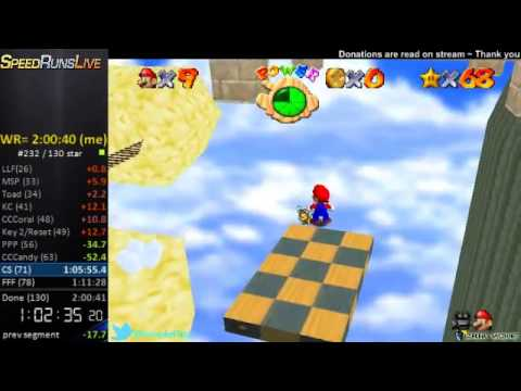 Super Mario Star Road 130 Star World Record (1:58:57)