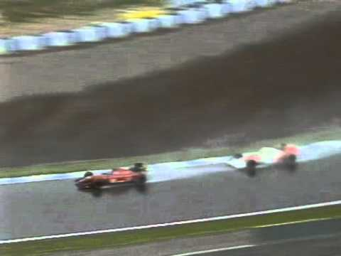 With Jean Alesi catching him, Ayrton Senna spins out of third place with three laps to go in the 1992 Spanish Grand Prix . BBC commentary from Murray Walker ...