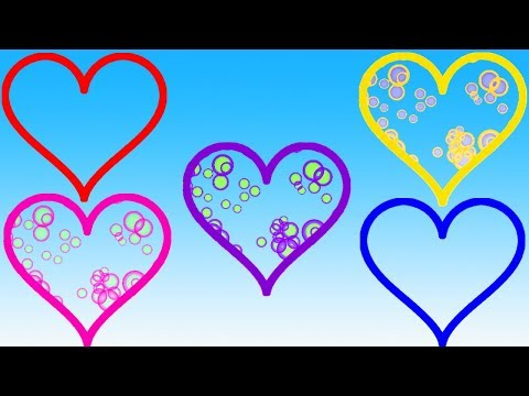 Learn Colors With Heart Bubbles Video For Children || Cartoon For Kids || Nursery Rhymes thumbnail