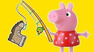 जॉर्ज बच्चों के एनीमेशन के साथ पेप्पा सुअर मत्स्य पालन