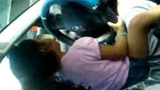 Baby driving real car
