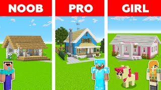 Minecraft NOOB vs PRO vs GIRL: HOUSE BUILD CHALLENGE in Minecraft / Animation