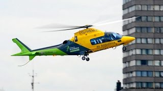 Air Ambulance Agusta A-109 Landing & Backward Takeoff at London Heliport
