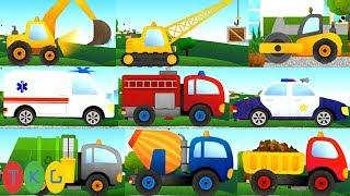 Xe Xúc Đất - Ủi Đất, Xe Cần Cẩu, Xe Trộn Bê Tông & Xe Tải - Xe Đổ Rác | TopKidsGames (TKG) 346