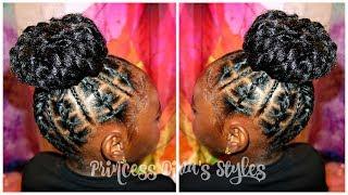 Railroad Tracks, Braids into Crochet Bun | Children's Natural Hair Care