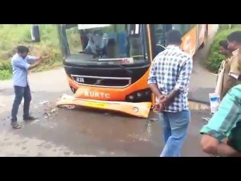 KURTC New Low Floor Volvo Ac Bus Accident Live Video