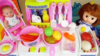 Baby doll and Frozen kitchen food cooking play baby Doli house