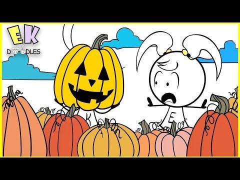 "Emma & Kate ""Halloween Pumpkin Patch"" - EK Doodles Funny Animated Cartoons"