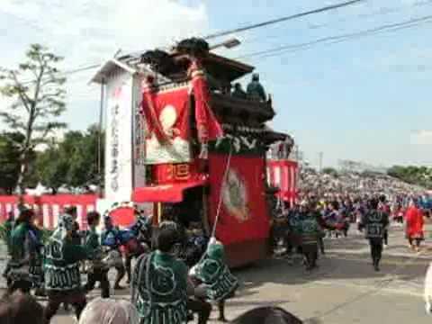 はんだ山車祭り、旭車(成岩・東組) - YouTube