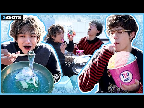 [ENG SUB] ICE FOOD CHALLENGE! Eating Cold Noodles + Ice Cream  in -5C degree!! [2idiots]