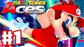 Mario Tennis Aces - Gameplay Walkthrough Part 1 - Bask Ruins! Piranha Plant Forest (Nintendo Switch)