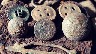Metal Detecting Mid-1800's Military Buttons, Bullets & Relics in the Woods - AMAZING FINDS!