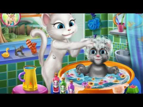 Кошка Анжела купает малыша.Мультики 2016.My Talking Angela Android.Игры для детей