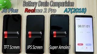 Samsung A7 (2018) Triple Camera Vs Realme 2 Pro Vs Samsung J6 Plus Battery Drain Comparision !!