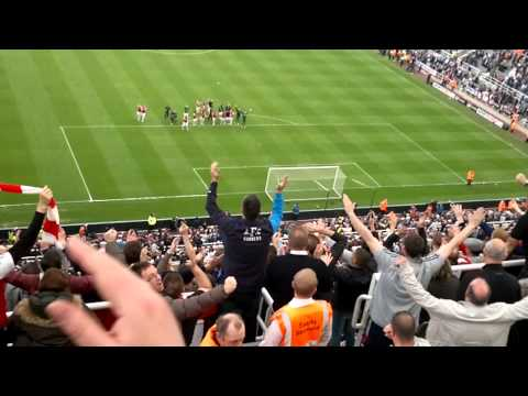 Newcastle vs Arsenal, Away End full time. Champions league celebrations 19/5/13