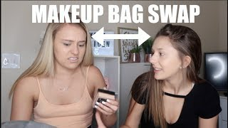 SWAPPING MAKEUP BAGS WITH MY 16 YEAR OLD SISTER!!