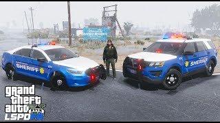 GTA 5 LSPDFR Police Mod #624 Blaine County Sheriff Office - Rainy Night Patrol In The County