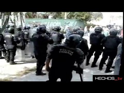 ENFRENTAMIENTO POLICIAS CONTRA ELECTRICISTAS DE LUZ Y FUERZA