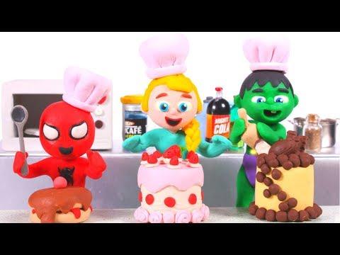 SUPERHERO BABIES MAKE LOTS OF CAKES ❤ Superhero Babies Play Doh Cartoons For Kids