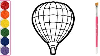 Hot Air Balloon Coloring page for Kids | Painting and Drawing for Toddlers
