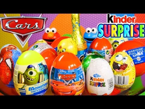 15 Surprise Eggs Kinder Surprise Cars 2 Spiderman Monsters University Spongebob Choco Treasure