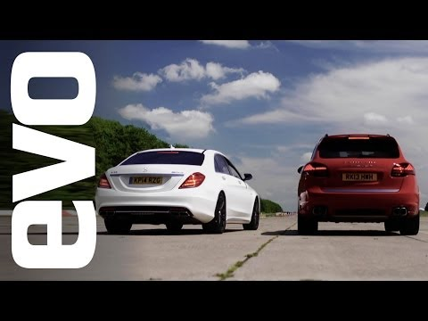Porsche Cayenne Turbo S v Mercedes S63 AMG   evo DRAG BATTLE