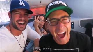 William Levy @willylevy29 having fun on flight from Miami to Los Angeles with friends