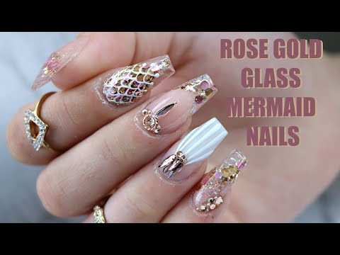ROSE GOLD GLASS MERMAID NAILS