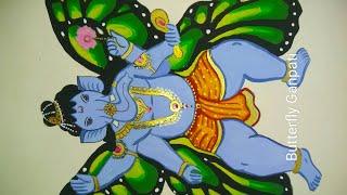 A beautiful butterfly Ganpati painting