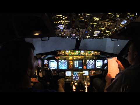 A nightflight from Oslo to Copenhagen in a Boeing 737 FlightSimulator