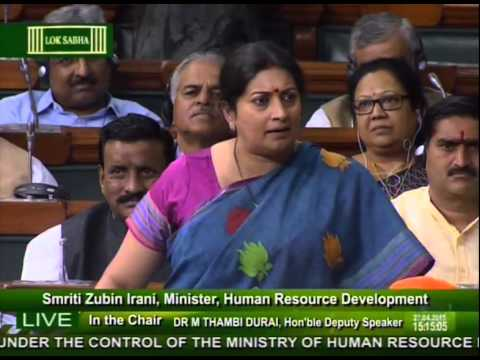 Discussion & Voting on the Demands for Grants under the control of HRD ministry: Smt Smriti Irani