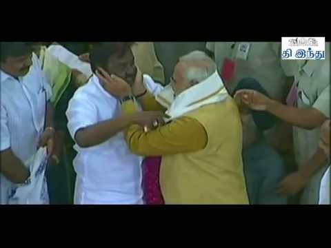 Emotional Vijayakanth With Modi   Tamil The Hindu